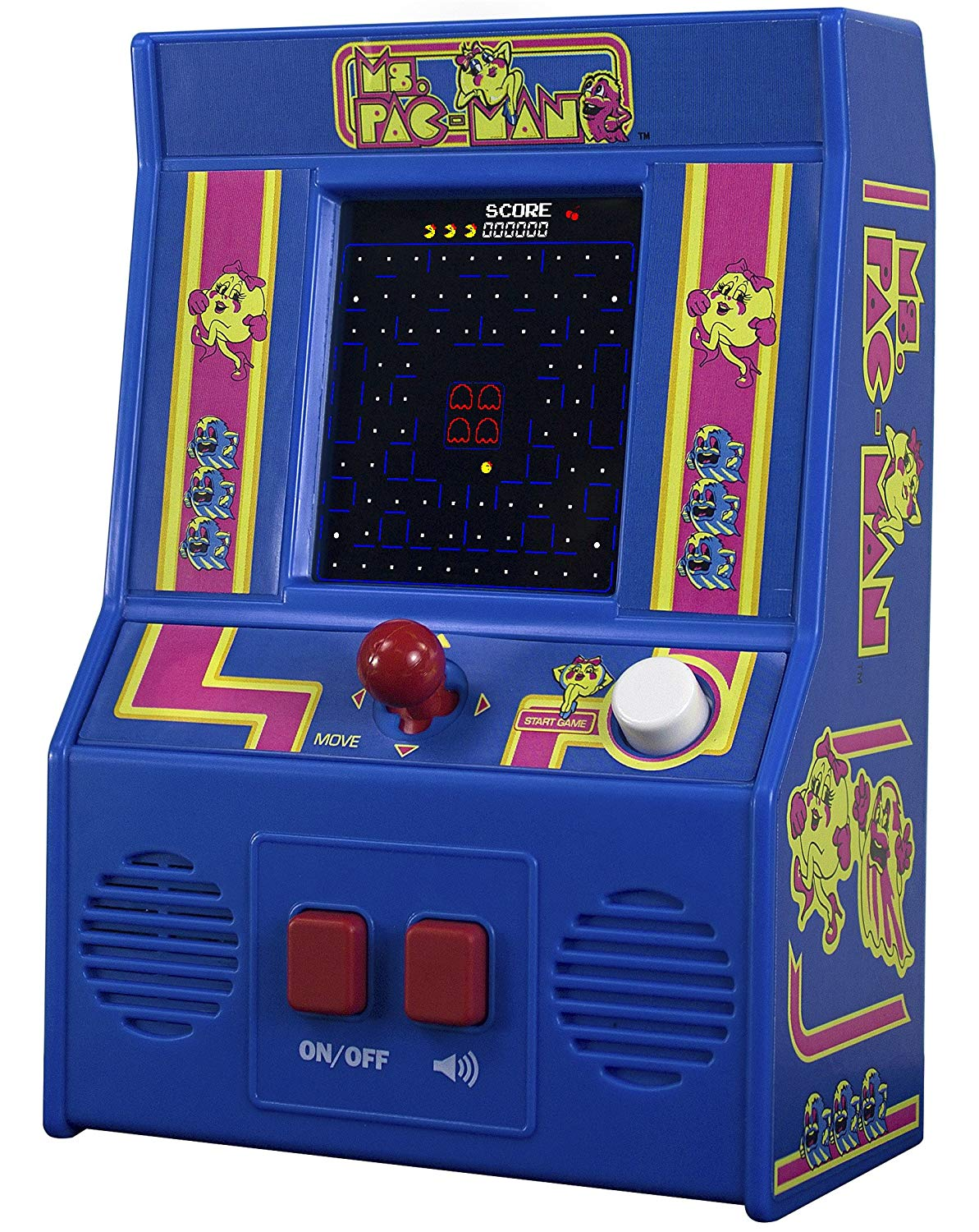 Basic Fun! 09614 Ms Pac-man Mini Arcade Game (4C Sceen), Multicolour