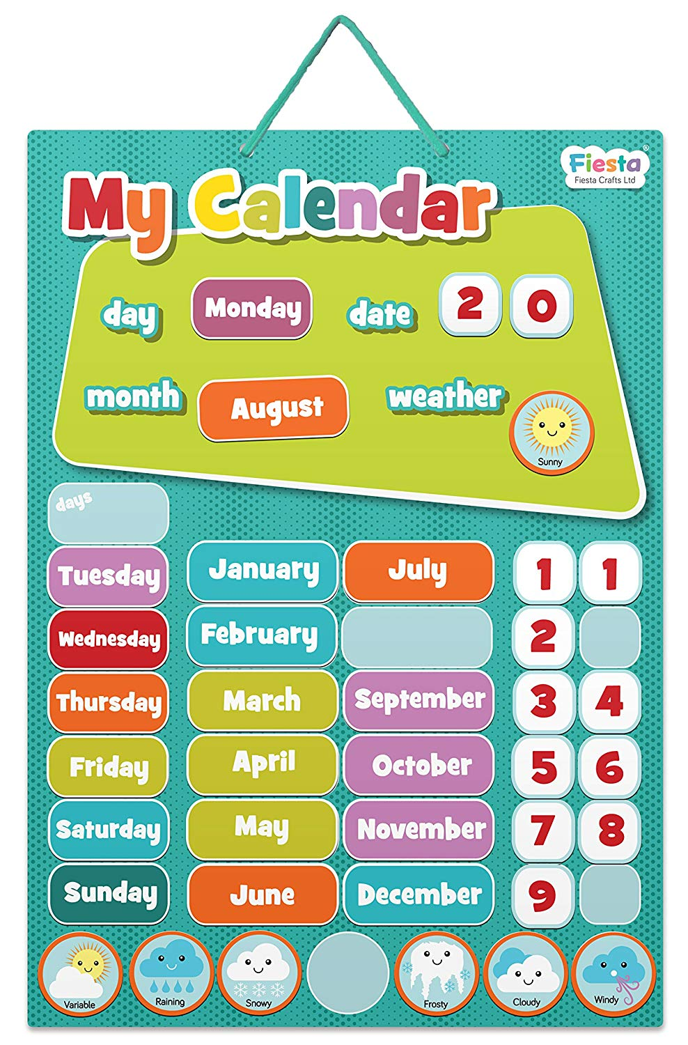 Fiesta Crafts My Calendar Magnetic Activity Chart- Blue