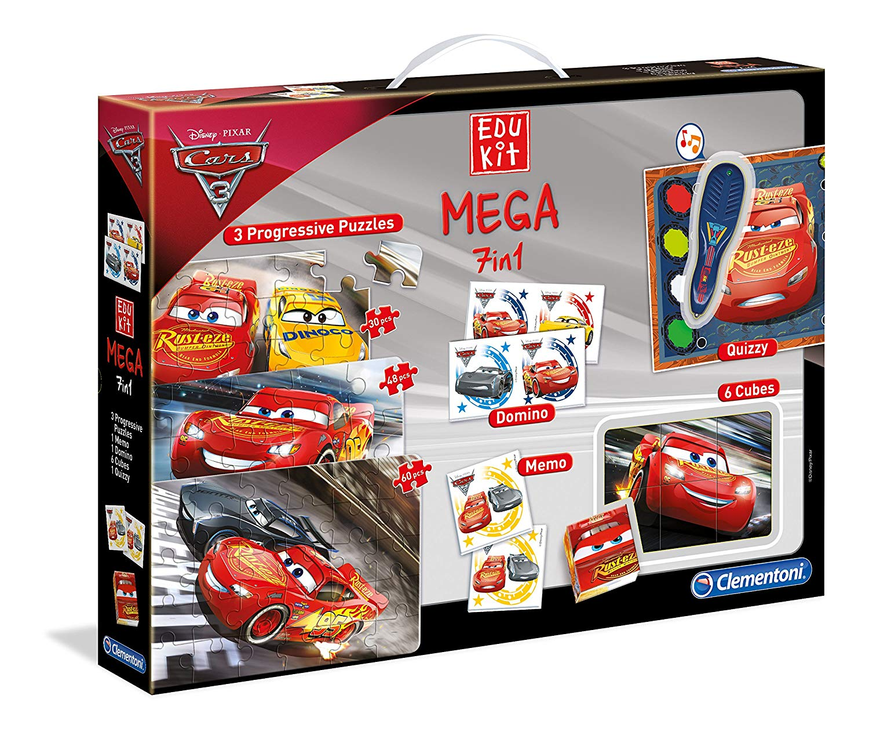Clementoni–11942-edukit Mega 7in 1–Disney Cars 3-jeu Educational