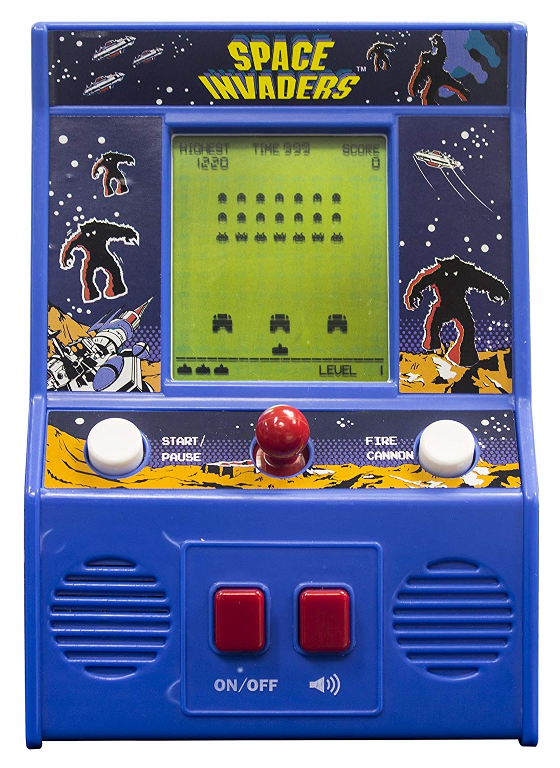 Basic Fun! 09527 zzCOULD NOT FIND Space Invaders Mini Arcade Game, Blue, One Size