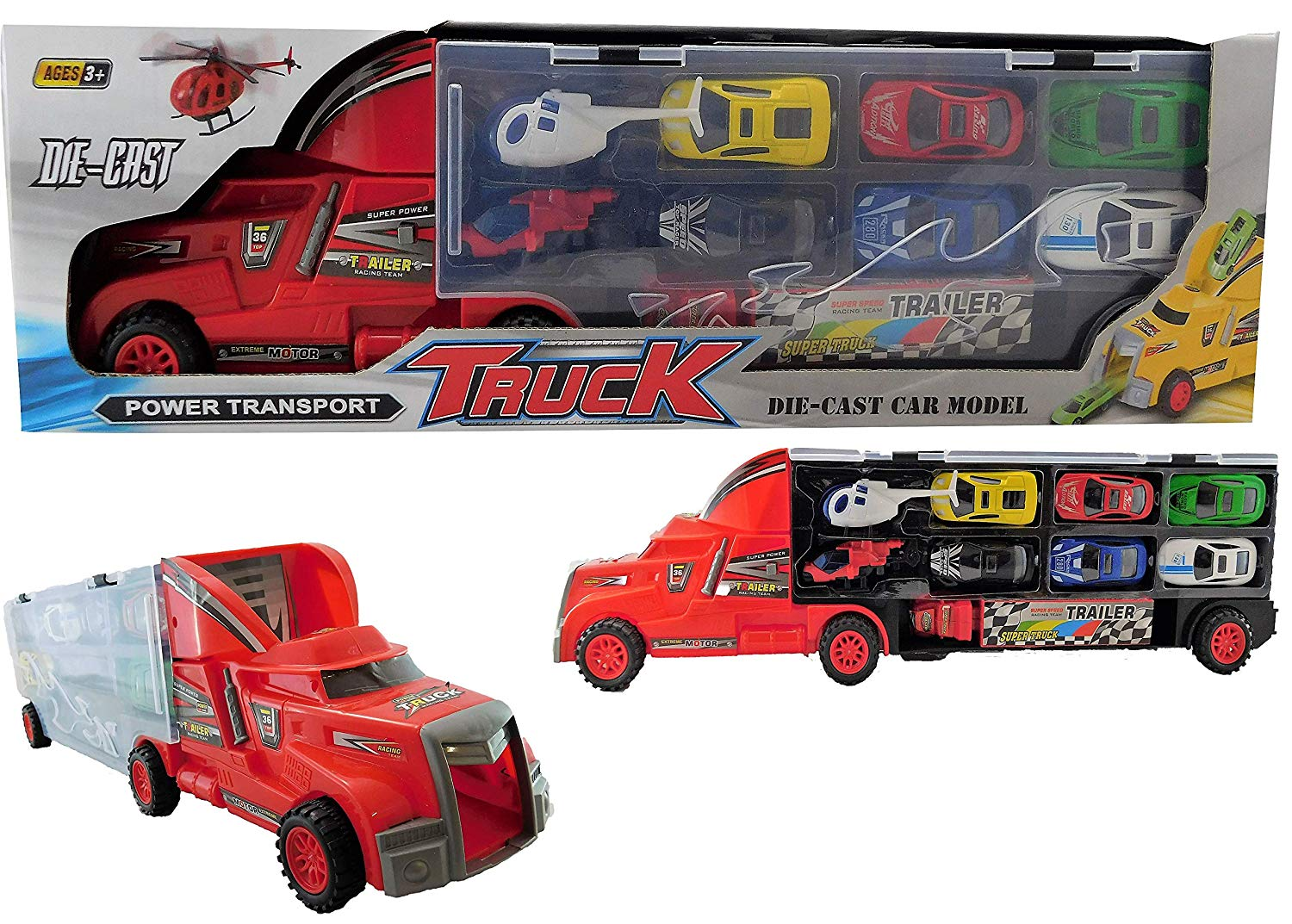 Allkindathings  Car Transporter Vehicle and 12 Mini Die Cast Cars Truck Toy Carry Case and Track
