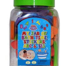 Barney & Buddy BA046 Alphabet and Numbers Jar of Bath Stickers, Multi-Colour