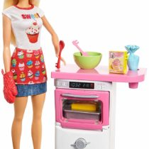 Barbie FHP57 CAREERS Baking Feature Doll and Playset Colourful Accessories, Blonde, Gift for 4 to 9 Years Child, Multi