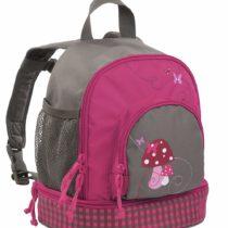 Lassig Kids Backpack Pre-School Kindergarten with chest strap, name badge and drink Bottle Holder, Mushroom Magenta