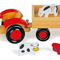 small-foot-design Solid Wood Tractor and Animals, with Trailer for all five Animals, Promotes Role-Playing Games, age 3 +