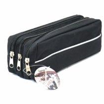 Arpan Triple Pocket Zip Rectangular Large Fabric Pencil Case – School Make-up (Black)