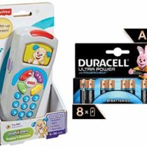 Fisher-Price 887961256321 Laugh and Learn Puppy's Remote, Electronic Educational Toddler Toy with Music, Lights, Colours and Phrases + Duracell Ultra AA Alkaline Batteries, 1.5 V, Pack of 8