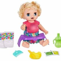 BABY ALIVE Happy Hungry Baby Blond Curly Hair Doll, makes 50+ Sounds and Phrases, Eats and Drinks and Fills Her Nappy, for Kids Aged 3 and up