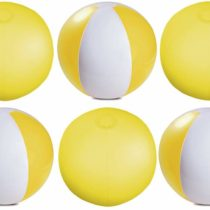 eBuyGB Pack of 12 Inflatable Colour Ball – Beach Pool Game, Transparent Yellow, 22cm/9″