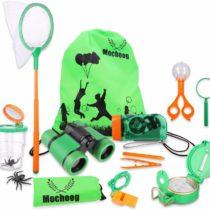 Mochoogle Outdoor Explorer Kit for Kids – STEM Educational Bug Catcher – Binoculars Flashlight Magnifying Glass Butterfly Net – Gift for Age 3-12 Boys Girls Backyards Camping Hiking