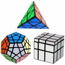 YKL World Speed Cube Set Dodecahedron Megaminx + 3x3x3 Pyraminx + Silver 3×3 Mirror Puzzle Cube