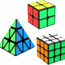 Aiduy Speed Cube Set, Triangle Pyramid Cube 2×2 3×3 Speed Cube Bundle with Smooth Sticker for Kids Children, 3 Pack