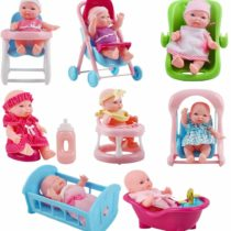 deAO Set of 8 Mini 5″ Baby Dolls with Accessories Including Stroller, Bathtub, Crib, High Chair, Walker and Much More!