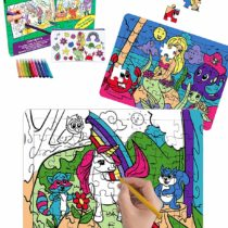 2 Color in Jigsaw Puzzles for Kids with Unicorn & Mermaid Designs! These Creative Toys for Girls Come with 10 Coloring Markers + a Bonus Color in Pencil Case | Fun Art & Craft Set, Cute Gift for Girl