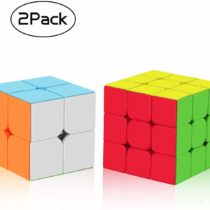 ROXENDA Speed Cube Set,2x2x2 3x3x3 Frosted Magic Cube,Stickless Cube