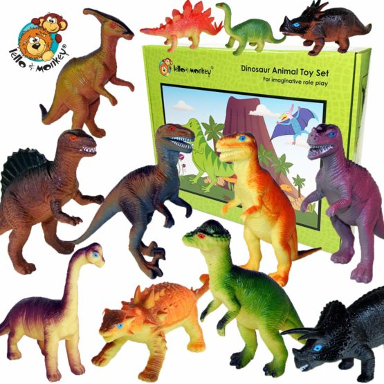 Lello & Monkey Dinosaur toys set of 12 plastic dinosaurs – Large 6″ dinosaur figures labelled with names and gift boxed – age 3