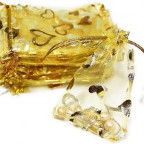 100x HEART JEWELLERY POUCH 13,5cmx19cm, jewellery box, gift wrapping, Organza Bags, Yellow, Gold