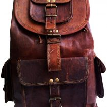 18″ Brown Leather Backpack Vintage Rucksack Laptop Bag Water Resistant Casual Daypack College Bookbag Comfortable Lightweight Travel Hiking/Picnic for Men