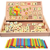 100PCS Wooden Number Sticks + 70PCS Bricks Blocks Mathematics Material Educational Toy + time learning Snail Teacking Clock Time Learning for Kid Child Maths Early Education Learning