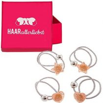 4Piece Childs Silver Scrunchie Set with Glitter Hearts and Stars in Pink Box by Hair of any love