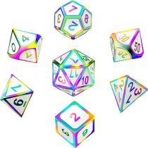 7 Pieces Metal Dices Set DND Game Polyhedral Solid Metal D&D Dice Set with Storage Bag and Zinc Alloy with Enamel for Role Playing Game Dungeons and Dragons, Math Teaching (Rainbow Edge White 2)