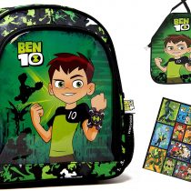 2-Piece Ben 10 – Super Set – Nursery Backpack/Nursery Bag for Lunch Box/Drinking Bottle (27 x 23 x 10 cm) + Craft Apron / Children's Apron / Painting Apron + 12 Ben 10 Stickers