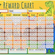 Amonev Dinosaur Reward Chart Star Chart is a dry erase chart that rewards up to 3 children 30x40cm Chore Chart comes with 4 dry erase pens and a hanging loop