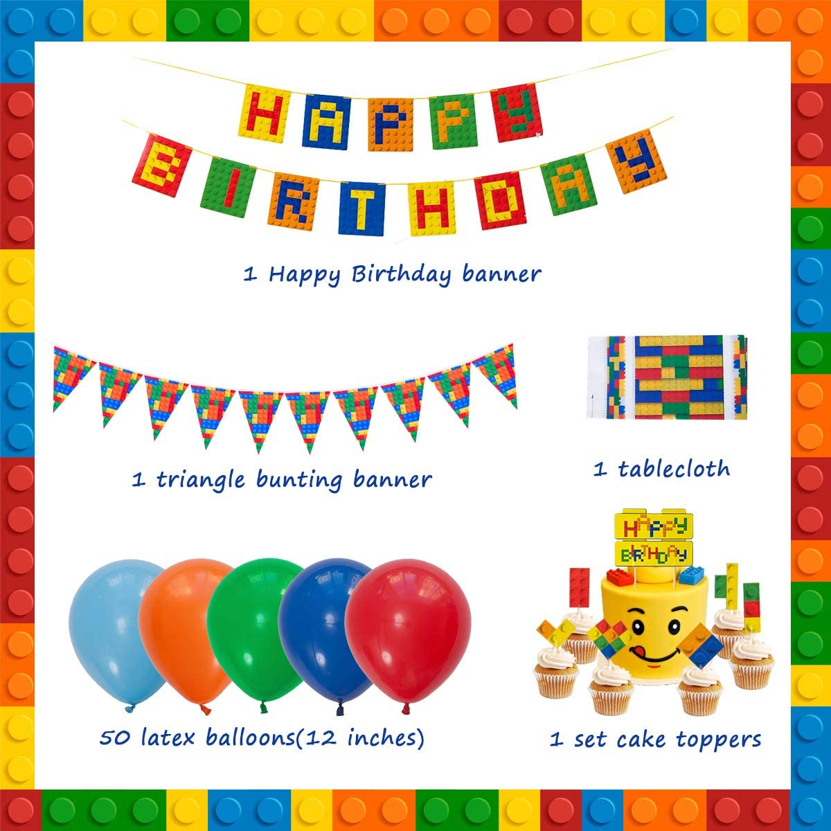 JOYMEMO Building Block Birthday Decorations Set for Boys ...