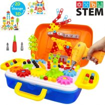 276 Pieces Electric Drill Puzzles with Gears Set, 3D Construction Engineering Building Blocks STEM Toy with Bus Model Storage Box for Boys and Girls Ages 3 4 5 6 7 8 9 10 Year Old
