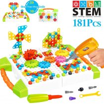 181 Pieces STEM Learning Toys with Gears Set, 2D 3D Construction Engineering Building Block Games with Toy Drill & Screw Driver Tool Set, DIY Educational Puzzles with Storage Box for Boys and Girls