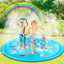 67 inch Splash Sprinkler Mat for Kids Toddlers Dogs Splash Play Paddling Pools Boys Girls Children Sprinkler Water Toys for Summer Outdoor Backyard Fountain Garden Lawn Swimming Beach Play Dolphin
