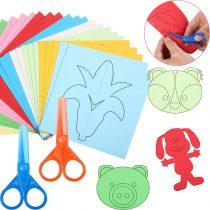 300 Pages Scissor Skills Activity Cutting Paper Scissor Practice Paper-Cut Kids Scissors Craft Kit Books with Child-Safe Scissors for Preschool Boys Girls Kids