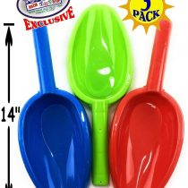 3PCS Jumbo Large Size 14″ Thick Beach Sand Shovels Scooping Kit With Long Handle Toys Gardening Tools Sandbox Equipment Sturdy Scoop Durable ABS Plastic Spade for Garden Snow Backyard Summer Beach Fun