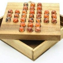 Windhorse Solitaire Marble Glass Wooden Brain Teaser