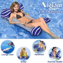 Aiglam Water Hammock, Pool Lounger Float Hammock Inflatable Rafts Swimming Pool Air Sofa Floating Chair Bed Drifter Swimming Pool Beach Float for Adult