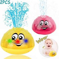 Addmos Bath Toys, 2 x Water Spary Baby Bath Toy with Light Kids Toddlers Toys Yellow & Pink (One Pair)