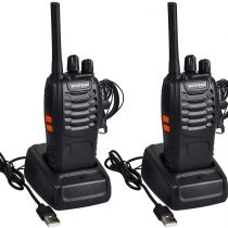 2PCS Walkie Talkie Rechargeable – Two Way Radio Walkie Talkies Long Range 16CH Walky Talky with Earpieces and LED Light Handheld Transceiver for Outdoor Field Survival Biking Hiking Camping, Black