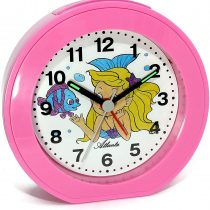 1998/17 Children's Alarm Clock without Ticking Mermaid Pink Quartz Analogue