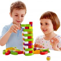 Arkmiido Wooden stacking blocks, Wooden Tumble Tower Game for 3 4 5 Year Old Boys Girls Educational Montessori toy with 54 Pieces.(Vegetable theme).