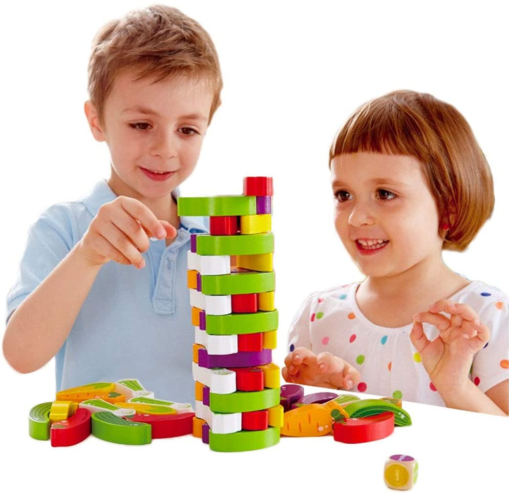 Arkmiido Wooden stacking blocks, Wooden Tumble Tower Game ...