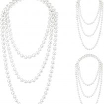 3 Pieces 1920s Pearl Necklace Long Imitation Pearl Choker Necklace Flapper Beads Cluster for Costume