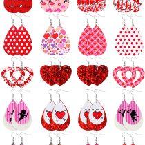 20 Pairs Teardrop Leather Earrings Valentine's Day Glitter Dangle Women Earrings