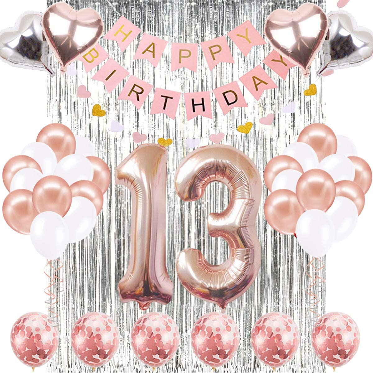 Rose Gold Series Latex Number Happy Birthday Balloons Party Curtain TY