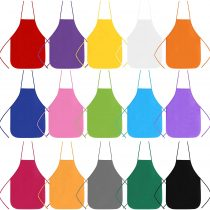 BELLE VOUS Kids Painting Apron (15 pack) – 56 x 43cm, 15 Colours Non Woven Fabric Aprons for Children (Age 5-10) Used for Kitchen, Classroom, Community Event, Crafts and Art Painting Activity