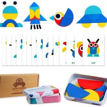 Wooden Animals Jigsaw Puzzles Educational Shapes Puzzles Pattern Blocks for Toddlers Fine Motor Games Sorting and StackingToys for Boys Girls Age 3+(36 Shape Pieces& 60 Design Cards in Iron Box)