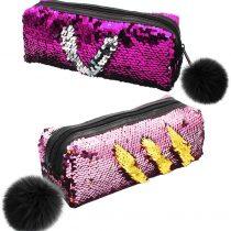 2 Pack Reversible Mermaid Sequin Pencil Case Glitter Flip Pencil Case for Girls Students, Cosmetic Bag for Girls Women