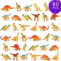 80 Pcs Mini Dinosaur Figures, Plastic Dinosaurs for Kids Tiny Dinosaurs Cake Toppers Educational Mini Dinosaur Toys Easter Eggs