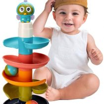 Activity Center Toy for Boys and Girls ,Educational Toy Rolling Ball Stacker Tower ,Roll Swirling Ramp Tower for Toddler and Baby Gifts