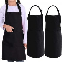 2 Pack Kids Apron with pockets, Children Adjustable Chef Apron 100% Cotton Apron Barbecue Apron for Kid-Boys Girls Painting, Baking, Cooking, Crafts, Community or Classroom School Event & Art Activity