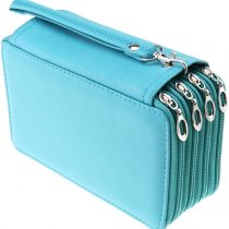 1x Green Pencil case with Zip PU Leather 72 Slots, 4-Layer.